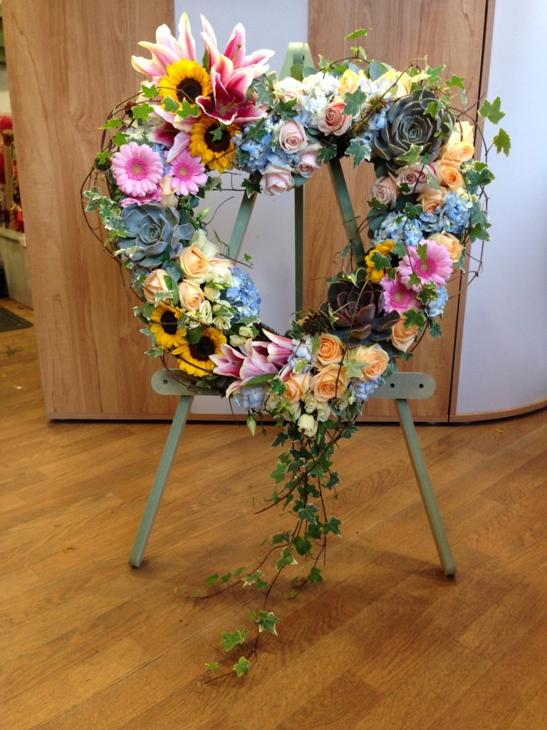 Bespoke funeral tributes heart open xl premium on stand bespoke funeral tribute izmirmasajfo Image collections