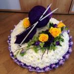 Posy Pad based, Knitting Theme Bespoke Funeral Tribute