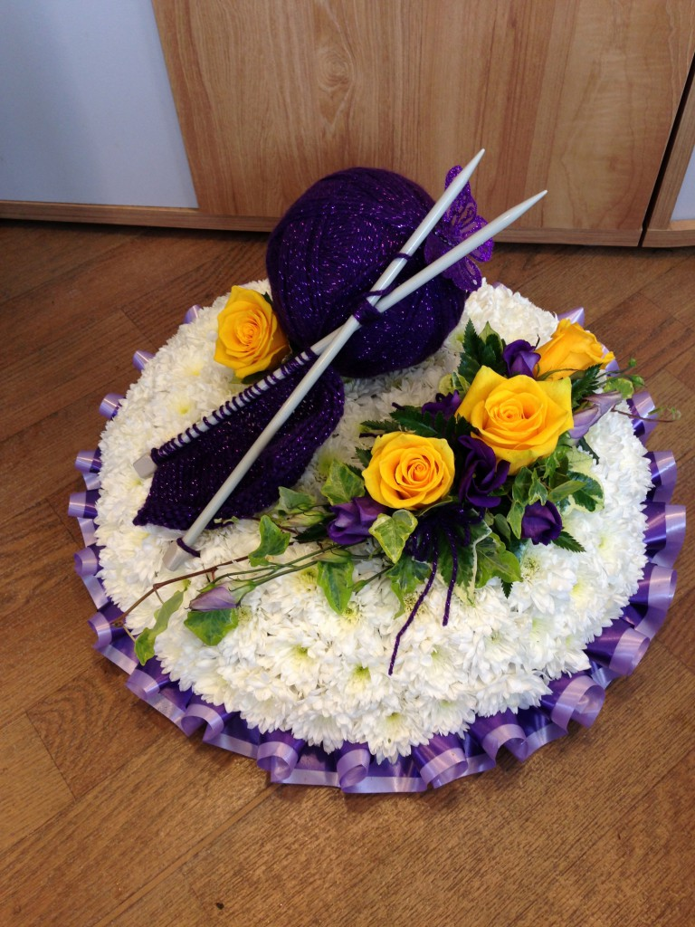 Bespoke funeral tributes posy pad based knitting theme bespoke funeral tribute izmirmasajfo