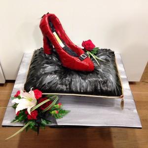 Shoe on Cushion Bespoke Shooters Target Bespoke Funeral Tribute
